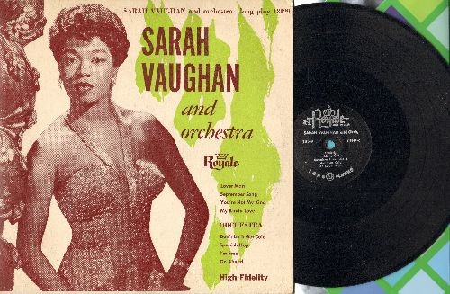 Vaughan, Sarah - Sarah Vaughan & Orchestra: Lover Man, September Song, I'm Free, Go Ahead (10 inch LP record with picture cover, 1955 first pressing) - EX8/EX8 - LP Records