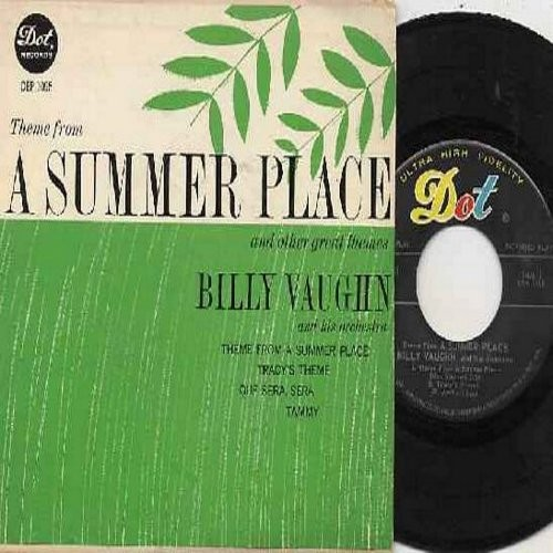 Vaughn, Billy & His Orchestra - Theme From A Summer Place/Tracy's Theme, Que Sera Sera/Tammy (Vinyl EP record with picture cover) - NM9/VG7 - 45 rpm Records