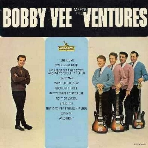 Vee, Bobby - Bobby Vee Meets The Ventures: Linda Lu, Candy Man, Honeycomb, Walk Right Back, Pretty Girls Everywhere, I'm Gonna Sit Right Down And Write Myself A Letter (Vinyl LP record) (NM9 condition vinyl with VG7 condition cover) - NM9/EX8 - LP Records