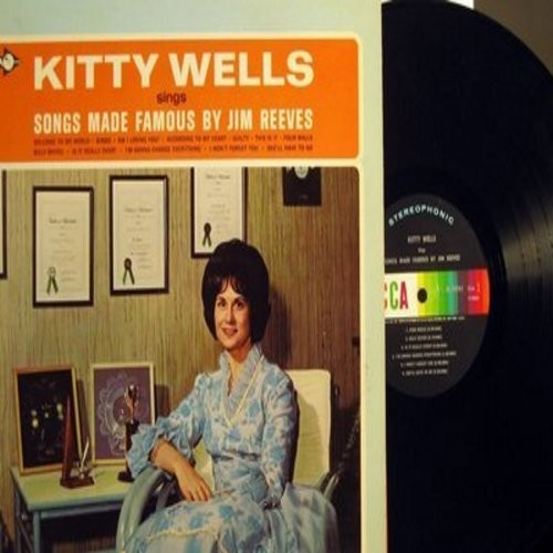 Wells, Kitty - Kitty Wells Sings Songs Made Famous By Jim Reeves: Four Walls, She'll Have To Go, Billy Bayou, Bimbo, Guilty (Vinyl STEREO LP record) - NM9/NM9 - LP Records