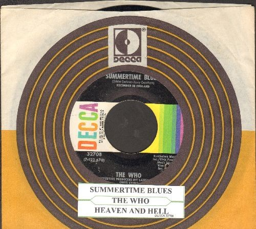Who - Summertime Blues/Heaven And Hell (with juke box label with Decca company sleeve) - EX8/ - 45 rpm Records