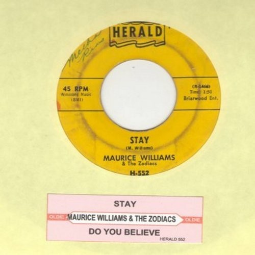 Williams, Maurice & The Zodiacs - Stay/Do You Believe (with juke box label) (wol) - VG7/ - 45 rpm Records