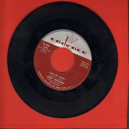 Williams, Andy - Lips Of Wine/Straight From My Heart - EX8/ - 45 rpm Records