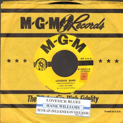 Williams, Hank - Lovesick Blues/Moanin' The Blues (with juke box label and vintage MGM company sleeve) - VG7/ - 45 rpm Records