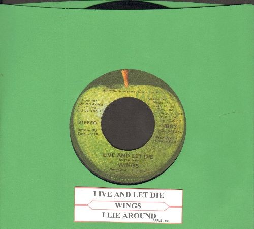 Wings - Live And Let Die (Academy Award Nominated James Bond Film Theme)/I Lie Around (with juke box label) - EX8/ - 45 rpm Records