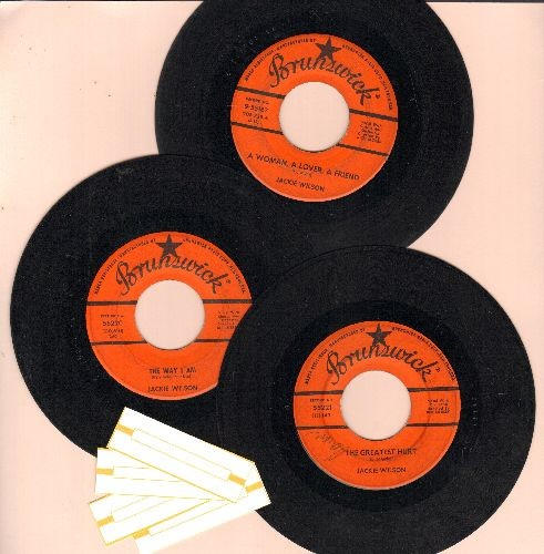 Wilson, Jackie - 3-Pack of first issue 45s includes hits Please Tell Me Why, There'll Be No Next Time and A Girl Named Tamiko. Shipped in plain paper sleeves with 4 blank juke box labels. - VG7/ - 45 rpm Records