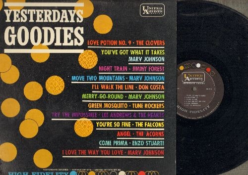 Johnson, Marv, Falcons, Clovers, Acorns, Lee Andrews & The Hearts, others - Yesterday's Goodies: Merry-Go-Round, Love Potion No. 9, You're So Fine, Angel, Come Prima (Vinyl LP record, RARE MONO pressing)) - NM9/EX8 - LP Records
