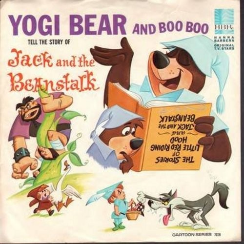 Yogi Bear & Boo Boo - Jack And The Beanstalk Parts 1 & 2/Yogi Bear Song/Jack And The Beanstalk Song (Vinyl EP record with picture sleeve) - NM9/EX8 - 45 rpm Records