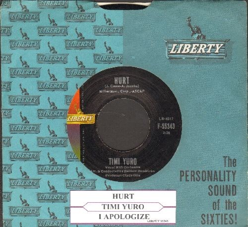 Yuro, Timi - Hurt/I Apologize (with juke box label and vintage Liberty company sleeve) - NM9/ - 45 rpm Records