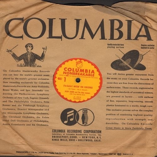 Nuttin For Christmas.Zahnd Ricky The Blue Jeaners I M Getting Nuttin For Christmas Something Barked On Christmas Morning 10 Inch 78 Rpm Record With Columbia